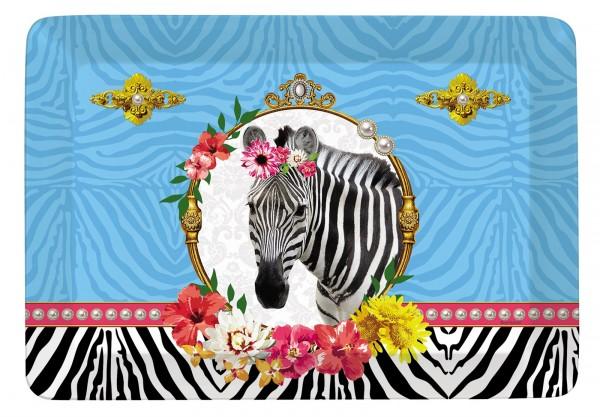 """Fancy Animals """"Zebra"""" Tablett 21.5x16 cm"""