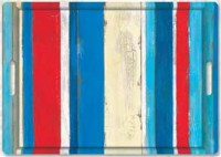 Stripes on Wood blau Tablett m. Griffen 45x31 cm