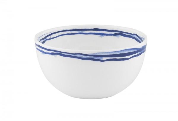 Indigo Schale, Streifen, weiss/blau, Ø 10.5 cm