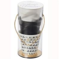 Espresso Knitterbecher 8cl, weiss, 3er Set Satin/ schwarz /RENTIERE