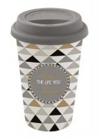 "Coffee Mania Becher m. Deckel in GB ""Life"", 350 ml"