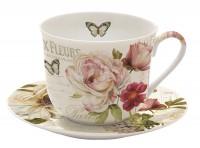 Fleurs Teetasse mit Untertasse, 400 ml