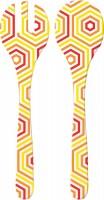 Riviera Bright Salatbesteck, 2-er Set, gelb/rot hexagon