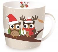 """Christmas Owls Porzellanbecher in GB """"Eulen"""", braun, 350 ml"""