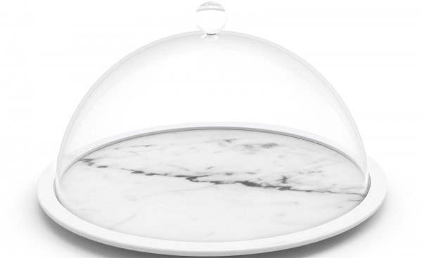 Osmos Käseplatte m. Cloche Marmor Optik/weiss Ø28x16cm