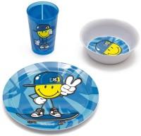 Smiley Kid Boy 3er Geschenkset blau,Teller,Schüssel+Becher