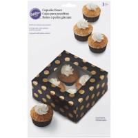 Cupcake Box für 4 Stück, Schwarz/Gold Metallic gepunktet