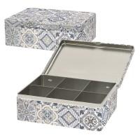 Casadecor blau, Teebox mit 6 Fächer, 20.5x16x7 cm