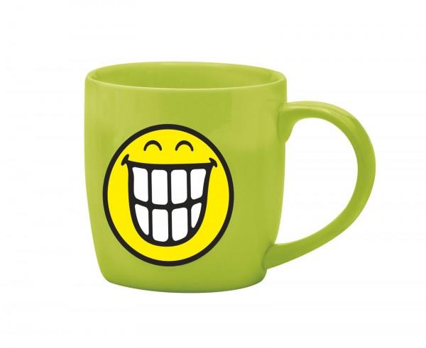 Smiley Porz. Espressotasse grün/Emoticon breit.Grinsen 7.5cl
