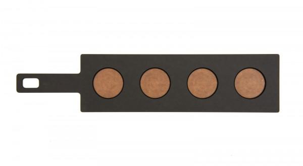 Servierbrett mit 4 Gläser, 43.8x10.2 cm, schwarz