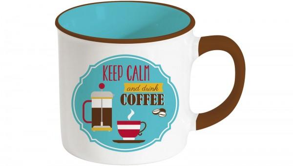 """Retro Break """"Coffee"""" Keramikbecher 300 ml, blau"""