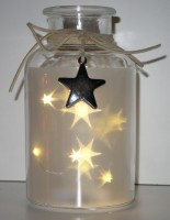 1x Dekoglas mit 6 Sternen-LED rot
