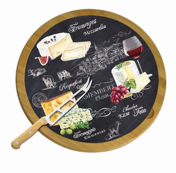 World of Cheese Serviertablett drehbar+Messer, Bambus, Ø32cm