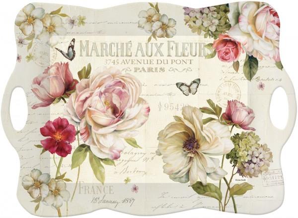 6x Fleurs Tablett m. Griffen, 53x28 cm