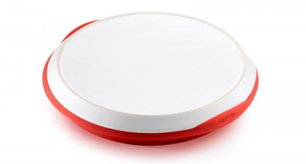 Silikon Backform m. Keramikplatte rot/grau, Ø24 cm