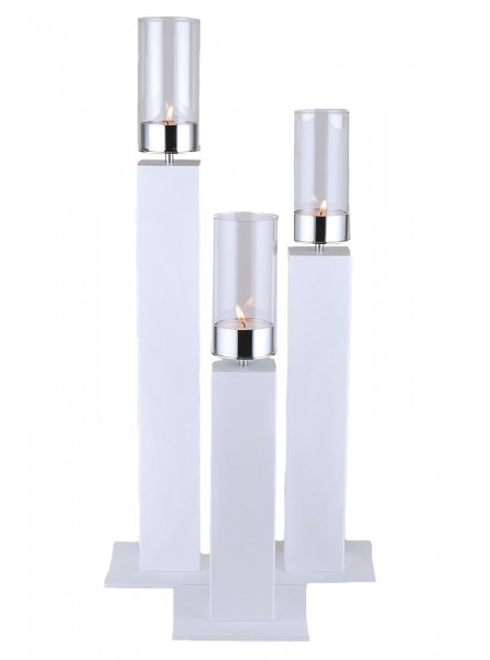 Kerzenhalter iNORAMA 108-43, 15x15x43cm weiss, ohne Glaszyl.