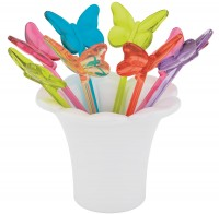 Picks Schmetterling rainbow 8tlg-Set 8cm
