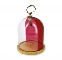 Holzplatte mit Glasglocke, H: 24 cm, Ø20 cm, klar/rot