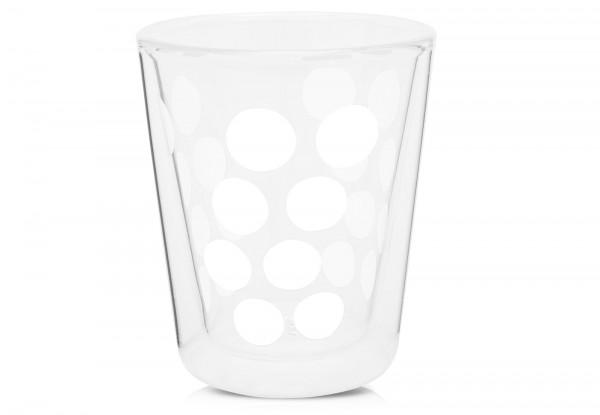 Dot Dot Kaffeeglas weiss, doppelwandig 20 cl