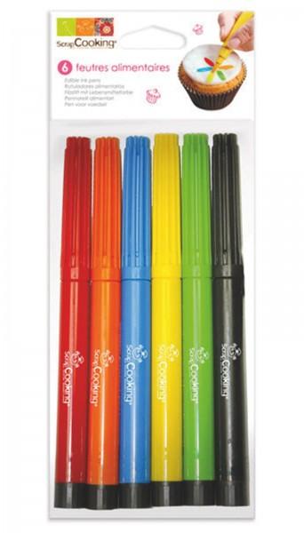 6 Lebensmittelstifte rot,orange,blau,gelb,grün,schwarz