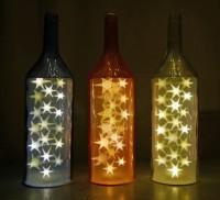 1x Glasflasche MAGNUM kupfer mit LED-Sternenlicht