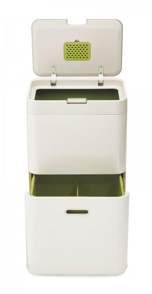 Totem 60l Recycling Station, sand/grün, 40x30x79.7 cm