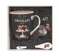 Hot Chocolate Becher m. Löffel & Untersetzer in GB, 300 ml