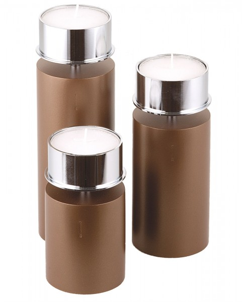 Kerzenhalter iNORAMA 106-21, Ø7cm H:21cm braun, o. Glaszyl.