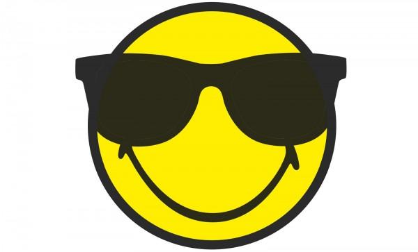 Smiley Sticker, Emoticon cool/Sonnenbrille Ø30 cm
