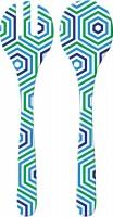 Riviera Bright Salatbesteck, 2-er Set, blau/weiss hexagon