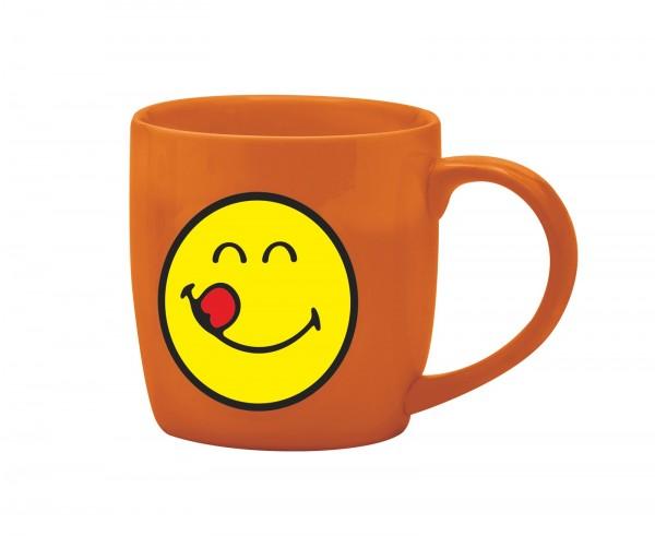 Smiley Porz. Kaffeetasse coral/Emoticon yummy 20cl
