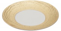 Präsentationsteller rund, H: 3.4 cm, Ø 31 cm, Elfenbein/Gold