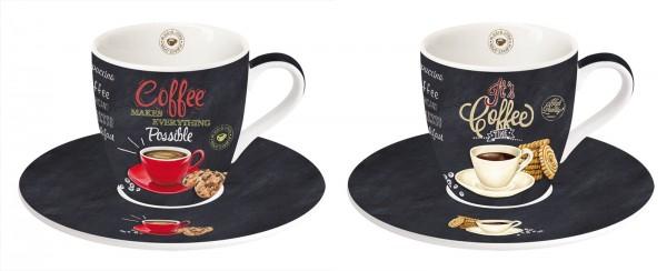 It's coffee time 2er Espresso Obertasse m. Untertasse 90 ml
