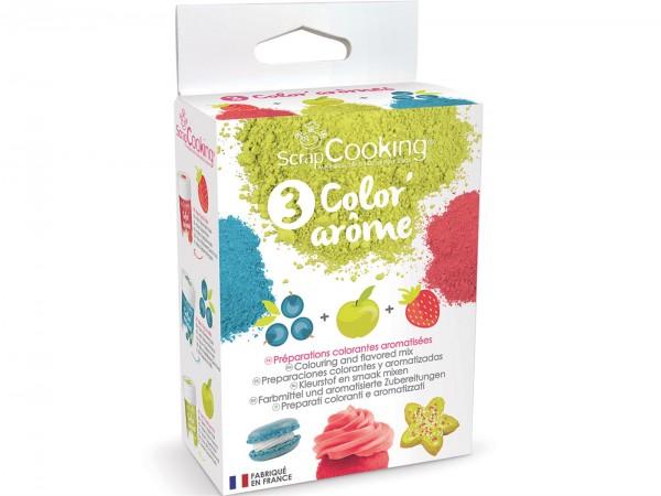 Farbpulver Aroma 3er-Set Erdbeere, Apfel, Heidelbeere 10 g
