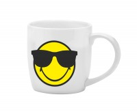 Smiley Porz. Espr.tasse weiss/Emoticon cool/Sonnenbri. 7.5cl