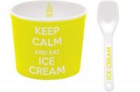 Keep Calm Porzellan Eisbecher, gelb, Ø 8.5 cm