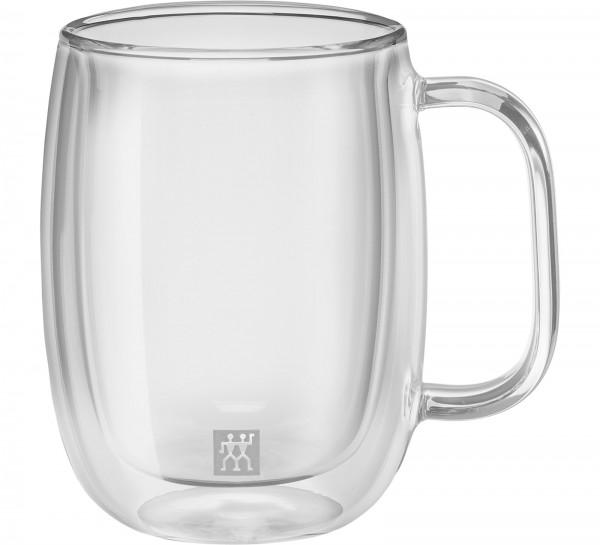 Sorrento Plus Kaffeegl. doppelw. m. Henkel, 2er Set, 355 ml
