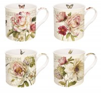 Fleurs Tassen Set 4 tlg. In GB, 350 ml