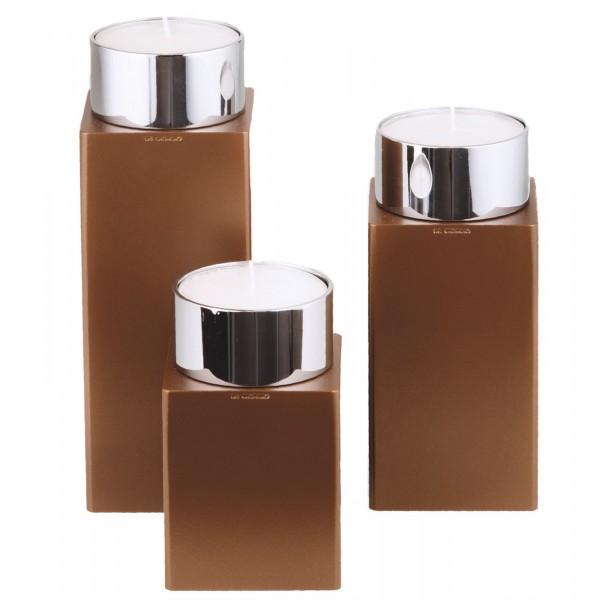 Kerzenhalter iNORAMA 104-16, 7x7x16cm braun, o. Glaszylinder
