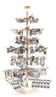 X-Mas-Holzdisplay Ausstechformen, bestückt 330 Stk, H:118 cm