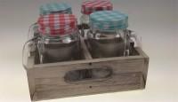 Glas klein m/Deckel Set 4 Stk, in Holzbox