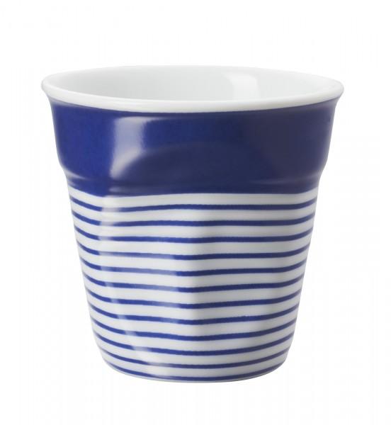 6x Espresso Knitterbecher 8 cl, blau/weiss breit gestreift