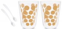 Dot Dot 2 Teeglas gold doppelw.+ 2 Löffel weiss