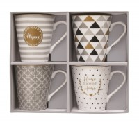 "Coffee Mania 4er Set Kaffebecher in GB,""Home"",300ml"