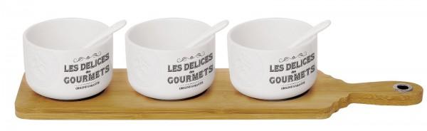 Les Delices des Gourmets Appet. Set m. 3 Schalen+Bam. Tabl.