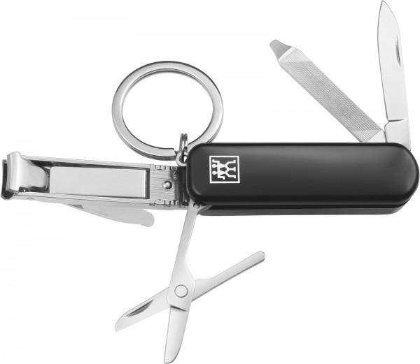 Multi-Tool m. Schlüsselanhänger, schwarz, 57 mm