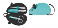 Reißverschluss-Etui, 3tlg., türkis, Maus-Form