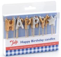 """Kerzen """"Happy Birthday"""" in gold und silber"""