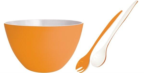 1x Duo Schüssel mit Salatbesteck orange-weiss