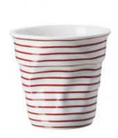 Cappuccino Knitterbecher 18 cl, gestreift weiss-rot